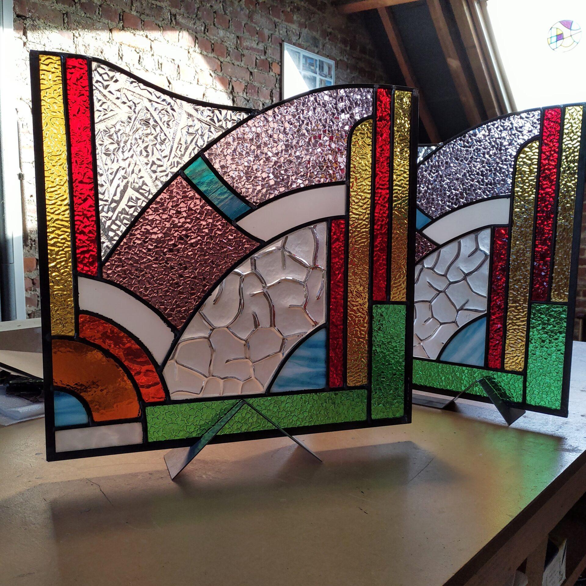 Hersteld glasraam Galmaarden Vitrail art deco