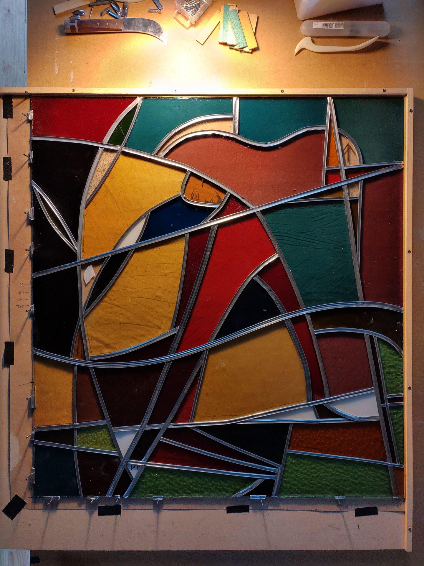 Herstelling glas-in-loodraam school Dilbeek