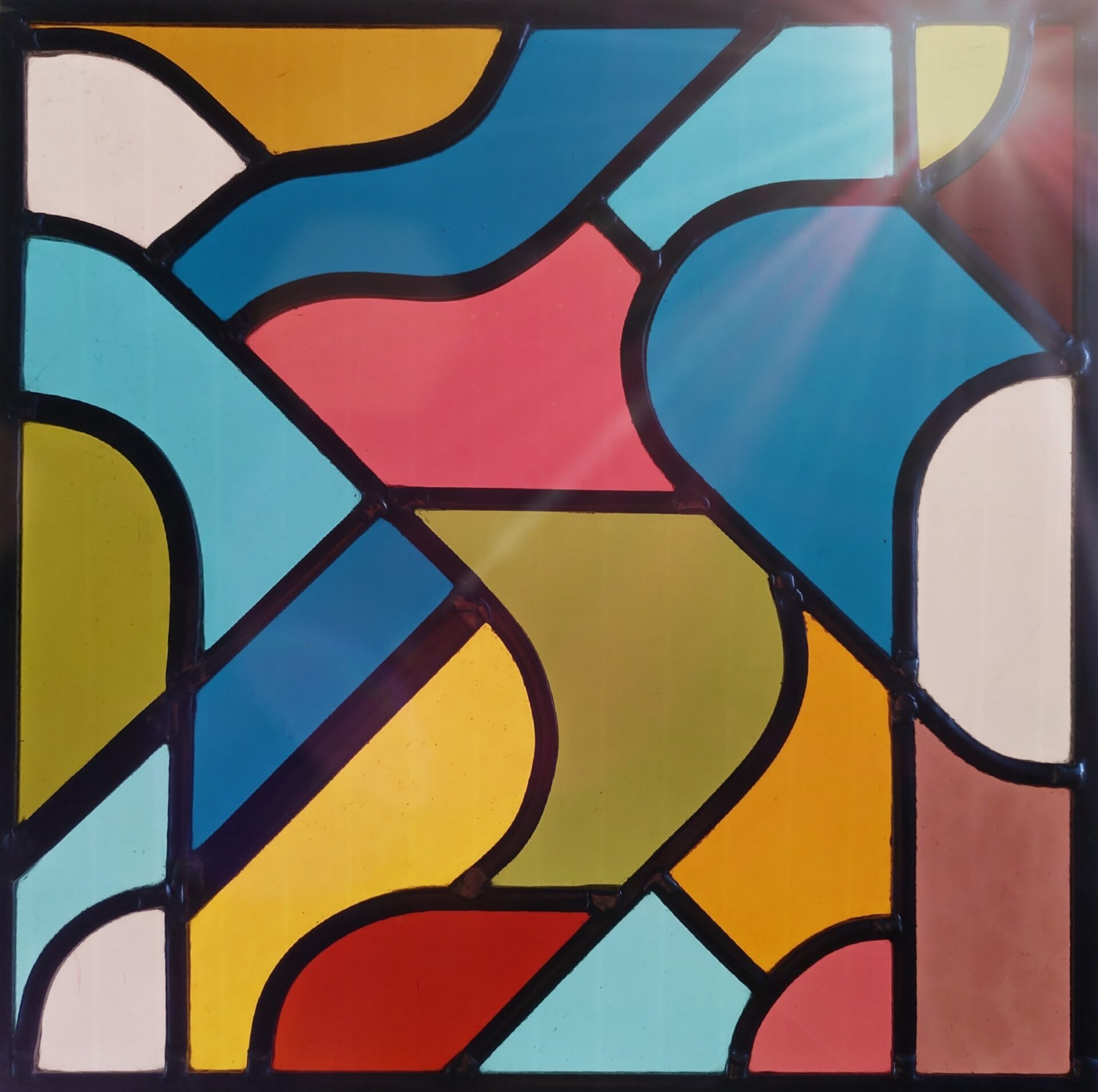 Glasraamdesign contemporary stained glass Isabelle Decallonne